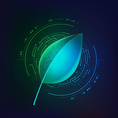 concept of synthetic biology or biological technology, graphic of single leaf with electronic pattern
