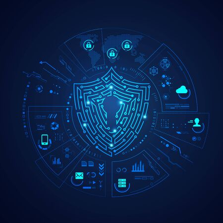 concept of data protection technology, shape of a shield  with digital communication element Stock fotó - 134594470