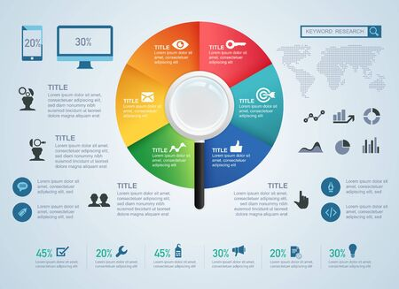 concept of keyword research or search engine optimization (SEO) for infographic Ilustração