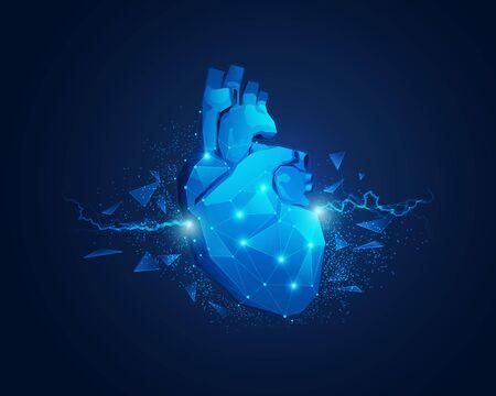 Konzept der Kardiologie, Vektor des Low-Poly-Herzens mit Funkenelement
