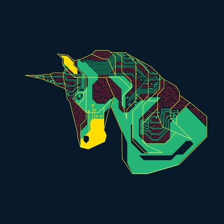 symbol of business startup, graphic of unicorn combined with electronic pattern