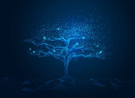 concept of network connection technology or big data, blue cyber polygon tree with futuristic element