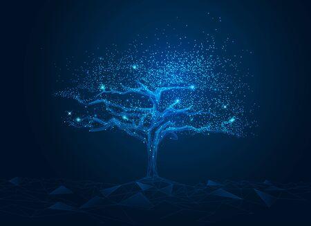 concetto di tecnologia di connessione di rete o big data, albero poligonale cyber blu con elemento futuristico Vettoriali