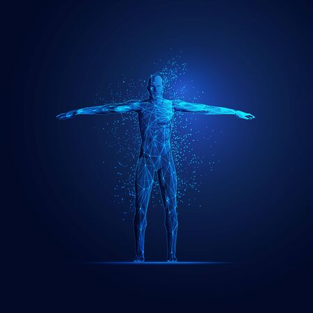 concept of digital transformation, figure of a man in scientific tecnology theme with futuristic element Illustration