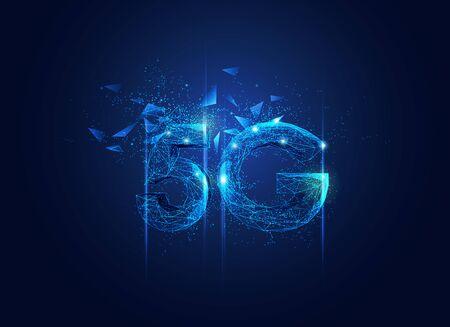 polygon 5G technology with futuristic elements Ilustração
