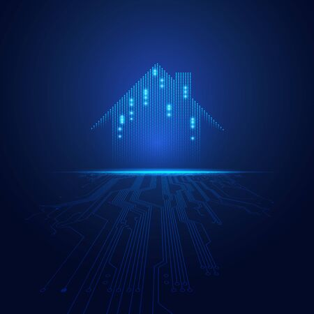 concept of smart home technology, graphic of futuristic house with electronic pattern Ilustração