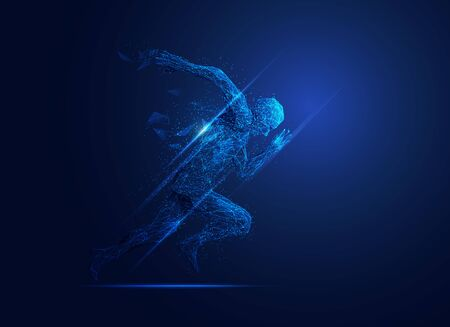 low poly man running presented in futuristic style