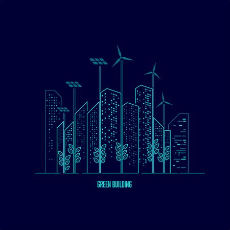 concept of green biulding or ecology, graphic of buildings with renewable system