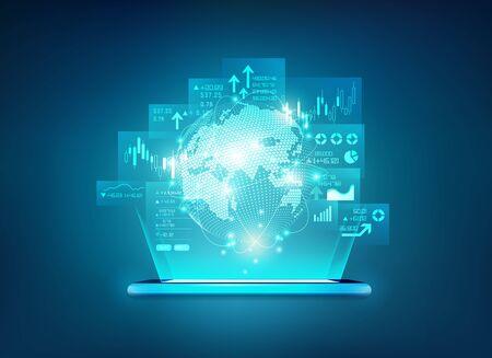 concept of online trading application on futuristic devices Ilustração