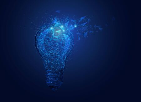 concept of creative thinking, wireframe lightbulb with futuristic element