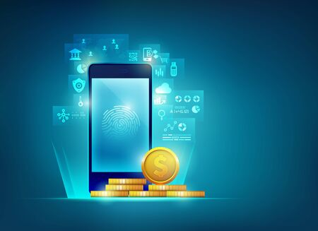 concept of mobile banking technology, graphic of realistic mobile phone with golden coin