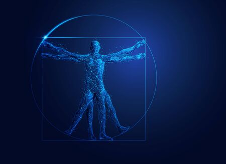 polygonal wireframe Vitruvian man with futuristic element
