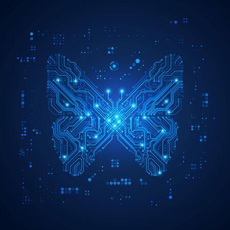 shape of butterfly combined with electronic pattern Ilustração