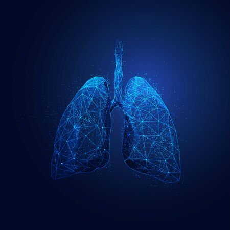graphic of wireframe polygon lungs with futuristic element