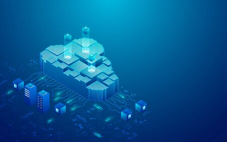 concept of cloud storage or data center presented in isometric
