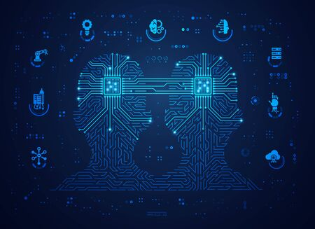 concept of machine learning or digital twin, shape of a man combined with electronic pattern