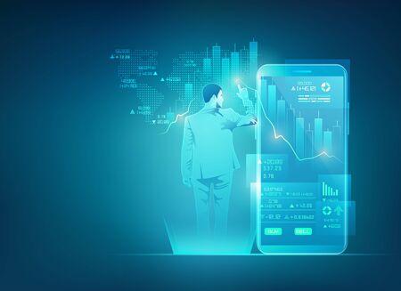 concept of online trading technology, businessman using stock market exchange interface on mobile phone Ilustração