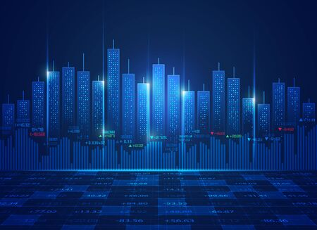 concept of stock market exchange technology or world economy, shape of buildings combined with candlestick