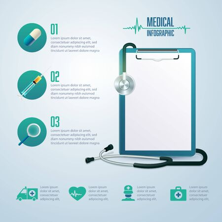 graphic of medical infographic, realistic medical clipboard with health care element