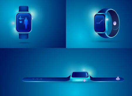 graphic of realistic smartwatch for health care technology decoration Ilustração