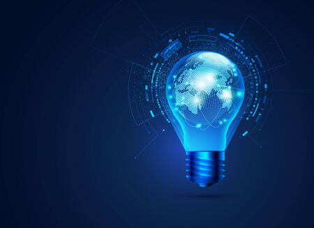 concept of communication technology, graphic of realistic light bulb with futuristic globe inside
