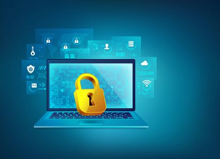 concept of cyber security or firewall technology, graphic of realistic computer laptop and golden padlock with futuristic element Vetores