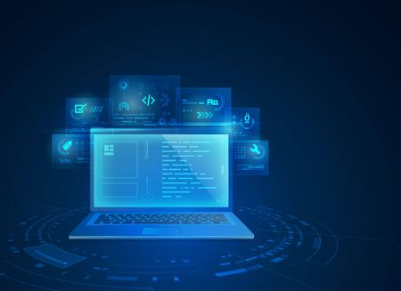 concept of web development technology, graphic of computer notebook with digital futuristic element