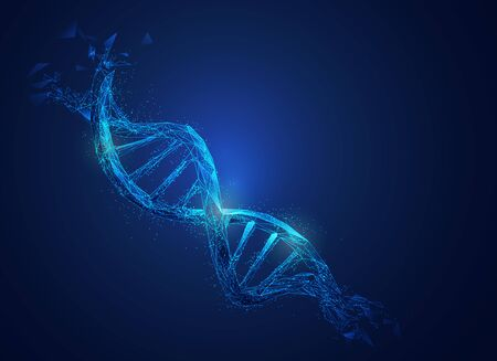 Graphic of low poly DNA with futuristic element in science theme