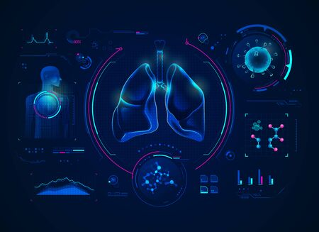 concept of medical technology, graphic of lungs, respiratory system and virus with medical element