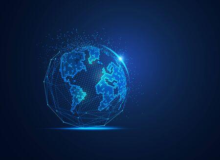 concept of communication technology or global network Ilustração