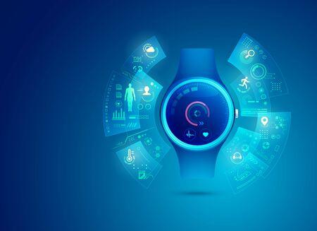 smart watch for healthcare technology with futuristic element Ilustração