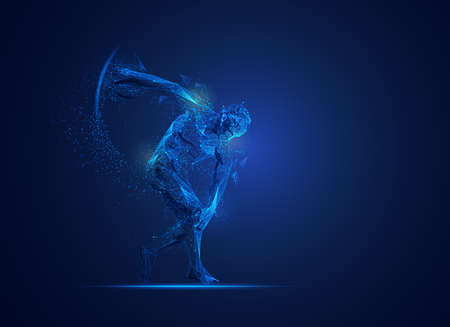 graphic of Discobolus presented in polygonal futuristic style