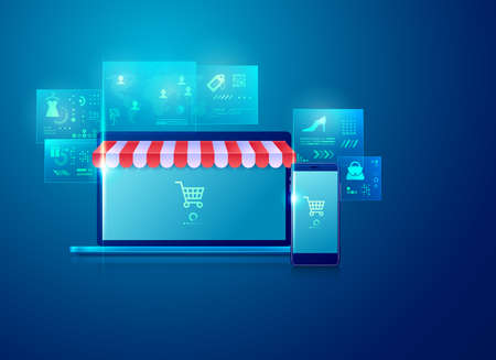 concept of online shopping or e-commerce