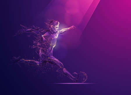 concept of sport science technology, polygonal soccer player with futuristic element