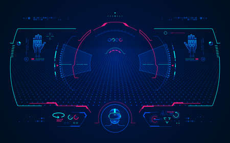 concept of vr technology, point of view from virtual reality headset with digital hologram interface
