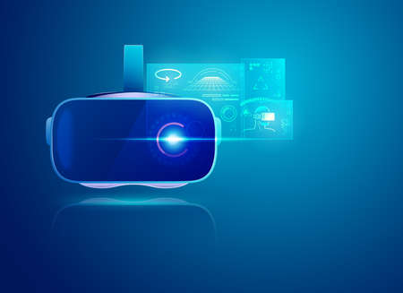 realistic VR headset with futuristic interface Stockfoto - 151027509