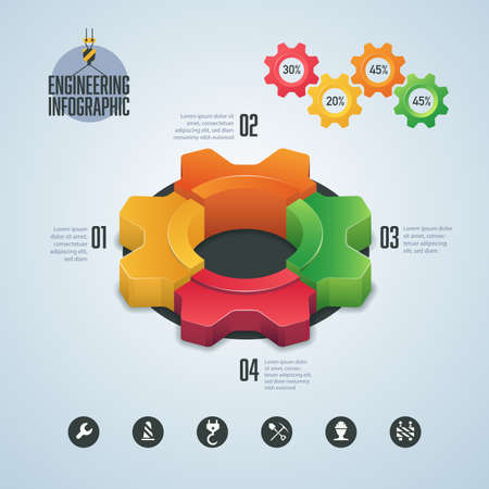 concept of industry or engineering infographic, graphic of cogwheel with construction element Ilustração