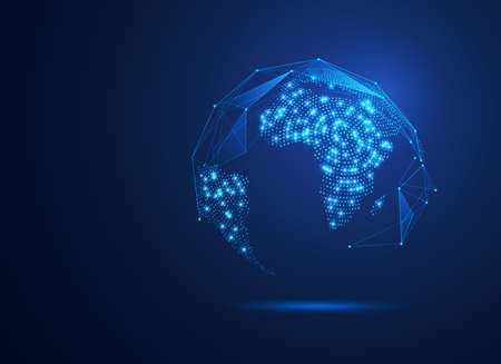 vector of dotted world map in futuristic style, concept of communication world or big data technology