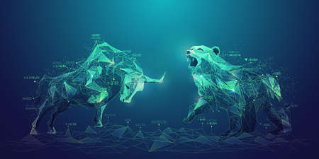concept of stock market exchange or financial technology, polygon bull and bear with futuristic element