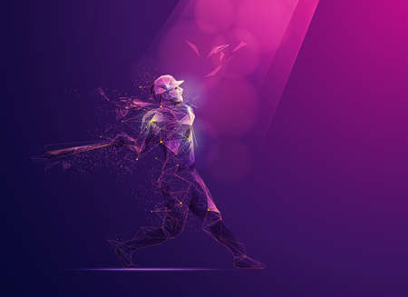 concept of sport science technology, polygon baseball player with futuristic element