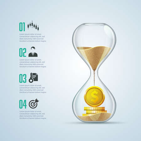 business metaphor - time is money, graphic of sandglass with golden coins inside 스톡 콘텐츠