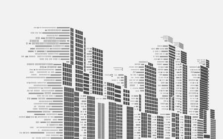 concept of smart building or digital city, graphic of buildings combined with binary