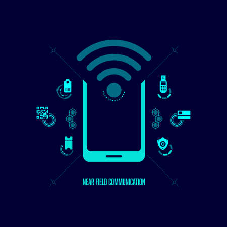 concept of near field communication or NFC, wifi sign with digital technology icons