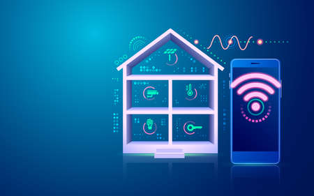 concept of smart home or internet of things (IOT), graphic of home technology interface Vector Illustratie