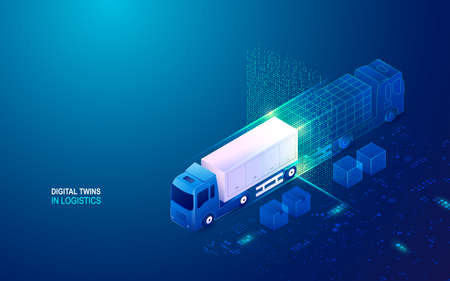 concept of digital twins in logistics, container truck with technology element