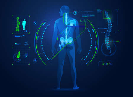 concept of chiropractic technology or spine medical treatment, graphic of human back bone with x-ray interface 일러스트