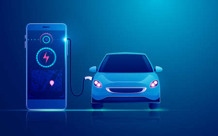 concept of ev charger station application on mobile, graphic of electric car charging by mobile phone