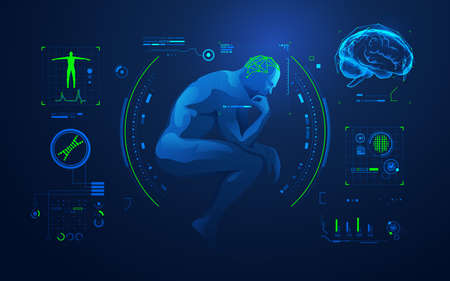 concept of brain analysis or brain research, graphic of thinking man with medical technology interface Ilustração