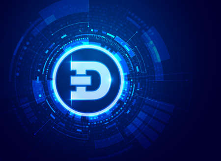 concept of cryptocurrency technology, graphic of dogecoin with futuristic element