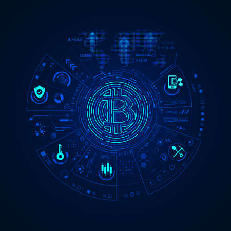 concept of cryptocurrency technology, graphic of bitcoin symbol with financial technology element 矢量图像